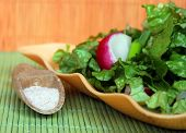Green salad with radish and cucumbres and himalayan salt