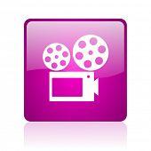 cinema violet square web glossy icon