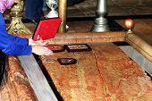Consecration Of Orthodox Icons On The  Stone Of Anointing