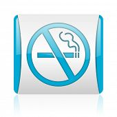 no smoking blue and white square web glossy icon