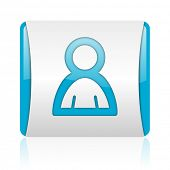 account blue and white square web glossy icon