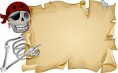 Frame Illustration Featuring a Pirate Holding a Blank Scroll