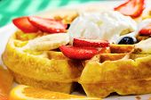 Waffle, Ice Cream, And Fruits