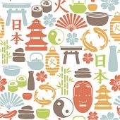 seamless pattern with asian icons