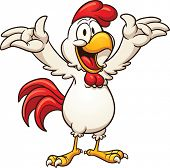 Happy cartoon chicken with raised arms. Vector clip art illustration with simple gradients. All in a