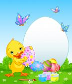 Easter Duckling painting Easter Eggs. Perfect for your Easter Greeting