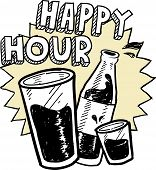 pic of drawing beer  - Doodle style happy hour alcohol drinking sketch in vector format - JPG
