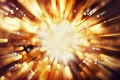 stock photo of bomb  - Bright blast of light in space background - JPG