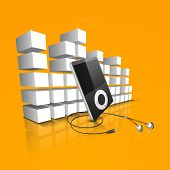 Moderno Audio o vídeo sobre fondo de ondas coloridas.