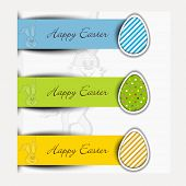 Sticker, label or banner with egg for Happy Easter.