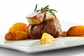 stock photo of veal meat  - Fillet of Veal topped with Foie Gras - JPG