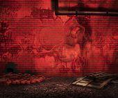 Red Grunge Brick Backyard Background