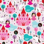 Seamless kids princess castle and unicorn illustration background pattern in vector