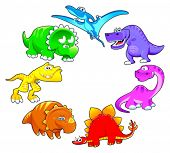 Dinosaurs rainbow. Funny cartoon and vector isolated characters