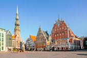 Town Hall Square In Riga, The Capital Of Latvia