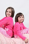 image of little girls photo-models  - Adorable little girls posing for photos in PJ - JPG