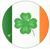 Irish Flag With Lucky Shamrock Button