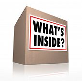 What's Inside question on a sticker on a cardboard box to illustrate the mysterious contents of a parcel, package, or other delivery container sent to you to open and enjoy as a gift or present