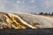 Overflow From Excelsior Geyser Runs Into The Yellowstone River