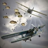 image of biplane  - Retro style picture of the biplanes with airborne infantry - JPG