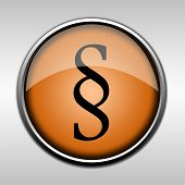 Orange Glossy Paragraph Button, Symbol Related With Law