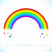 Bright isolated vector rainbows with color drops