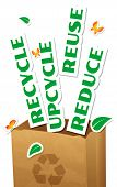 image of reuse recycle  - Environmental concept paper bag with stickers words Reduce Reuse Upcycle Recycle - JPG