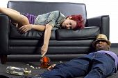 foto of underage  - drunken college friends passed out on a couch - JPG