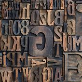 Wooden Printers Typeface Letters