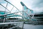 Singapore - February 26: Urban Landscape With Marina Bay Sands Hotel And Helix Bridge On Febr 26, 20