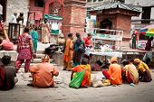 Kathmandu, Nepal - September 19: Holy Sadhu Men In Traditional Clothes, Blessing People During Relig