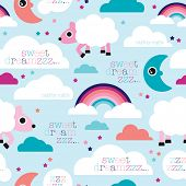 image of counting sheep  - Seamless good night sleep counting sheep rainbow illustration background pattern in vector - JPG