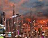 stock photo of science fiction  - A futuristic cityscape at dusk - JPG