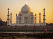 The Taj Mahal at Sunset in Agra, India