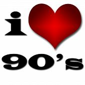 I Love 90's. Funny Concept Of Heart And Inscription Or Text