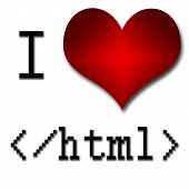 I Love Html. Funny Concept Of Heart And Inscription Or Text