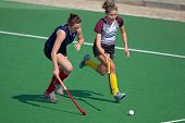BLOEMFONTEIN, SOUTH AFRICA - AUGUST 7: Unidentified players during a women's field hockey match between the North West University and the University of the Free State, on Aug. 7, 2010 in Bloemfontein, South Africa.