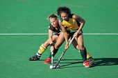 BLOEMFONTEIN, SOUTH AFRICA - FEBRUARY 7: Gaelle Valcke (L) and Marsha Marescia (R) during a women's