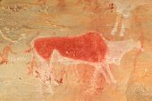 Bushmen (san) rock painting of an eland antelope and human figures, Drakensberg mountains, South Afr