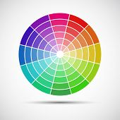 image of paint palette  - Color round palette on gray background vector illustration - JPG