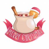 Mulled wine with cinnamon vector illustration