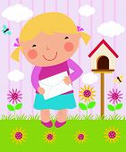 A vector illustration of a little girl posting Christmas cards and letter