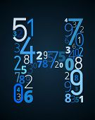 Letter H, vector font from numbers