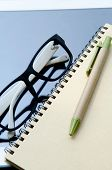 Office Supplies Notebook Paper Tablet And Glasses .