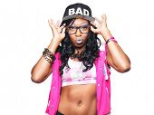 image of rapper  - trendy young female rapper making face - JPG
