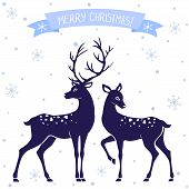 pic of deer  - silhouettes of black and white illustration of two deer Christmas - JPG