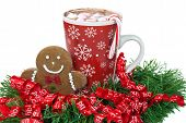 gingerbread man and hot chocolate