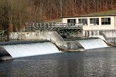 stock photo of hydro  - Hydro power plant on the Rhine river - JPG