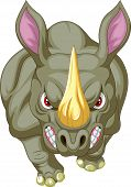 foto of rhino  - Vector illustration of Angry rhino cartoon character - JPG