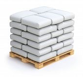 stock photo of wooden pallet  - White sacks on wooden pallet  - JPG